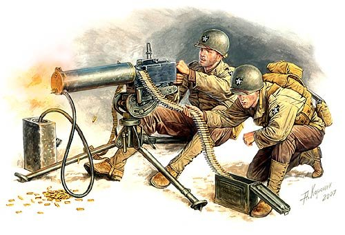 WWII US Browning M1917A1 Machine Gun with Gunner