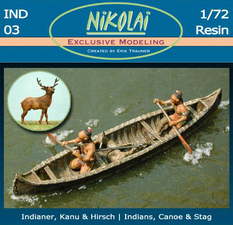 Woodland Indians Set 3 - Hunting Party with Stag and Canoe