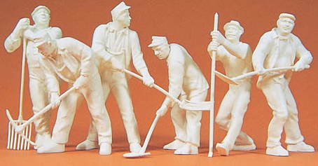 Unpainted Workers w/Rakes & Shovels (6)