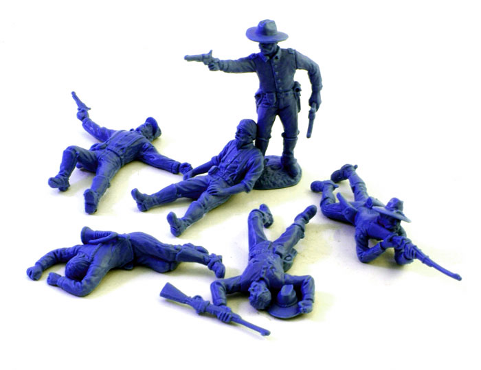 US Cavalry Dismounted with Casualties- Medium Blue