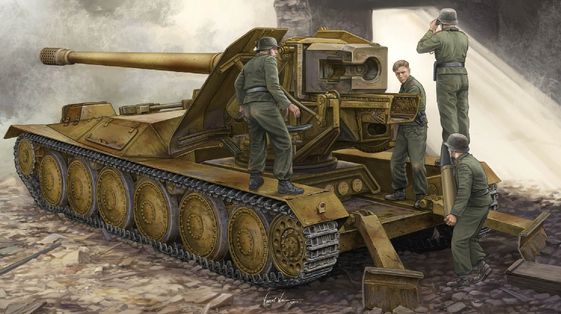 WWII German 12.8cm PaK 44 Waffentrager Krupp 1 Weapons Carrier Tank