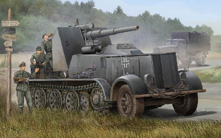 WWII German SdKfz 8 Halftrack with 8.8 cm Flak 18 Selbstfahrlafette