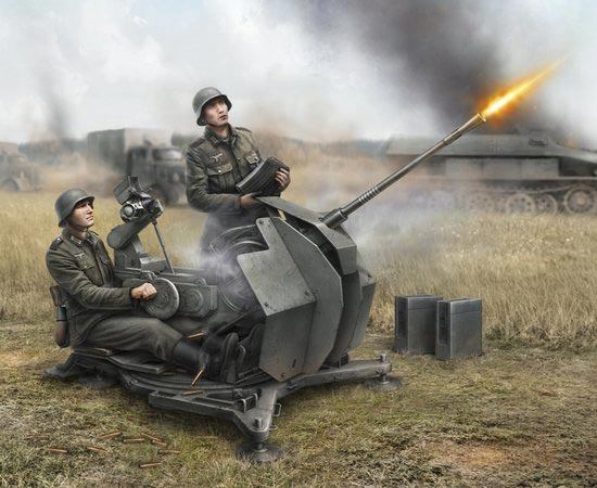 WWII German 2cm Flak 38 with Crew