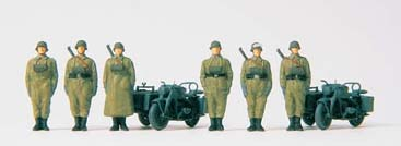 German Reich Motorcycle Crew at Attention & Motorcycle w/Sidecar
