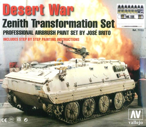 Desert War Zenith Transformation Pro Paint Set- 6 Model Air Colors and Auxiliaries