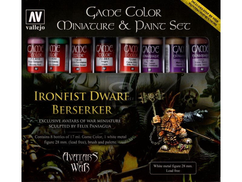 Avatar: Ironfist Dwarf Berserker Metal Figure & Game Color Paint Set
