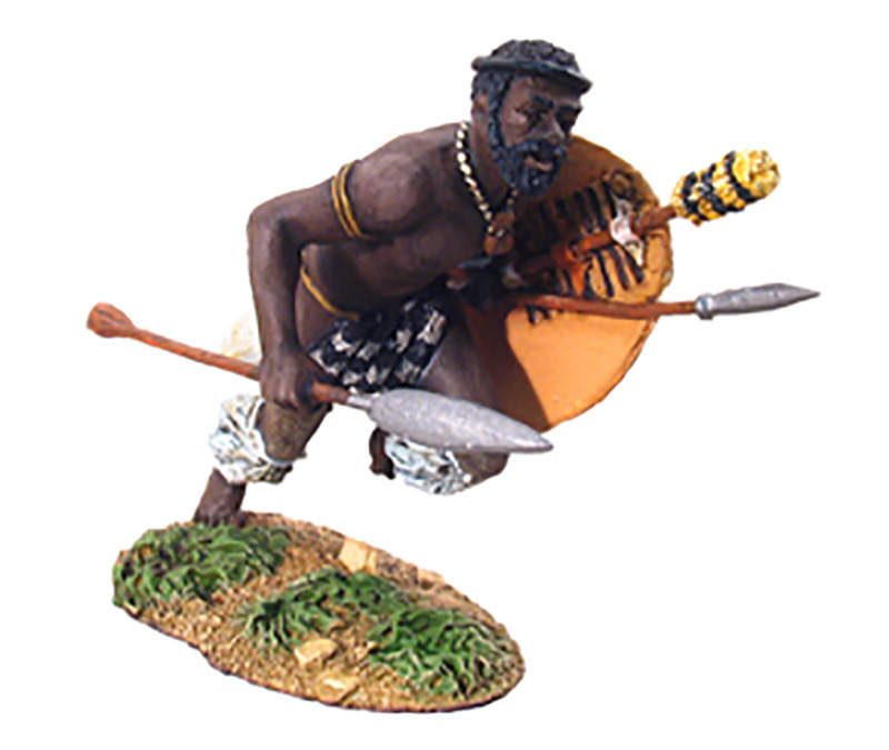 ZULU WARRIOR CHARGING WITH ASSEGAI #20034-1 AVAILABLE OOP