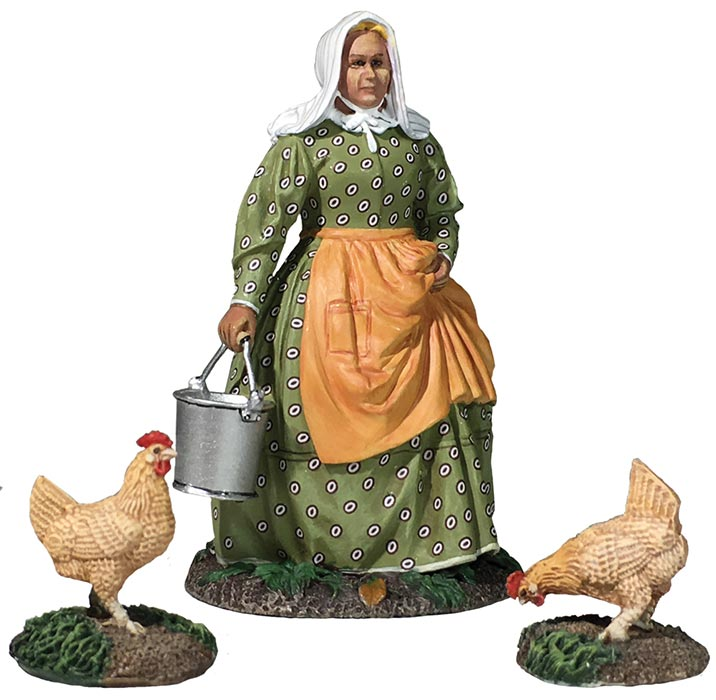 Miss Dayfield - Woman Doing Farm Chores with Two Chickens