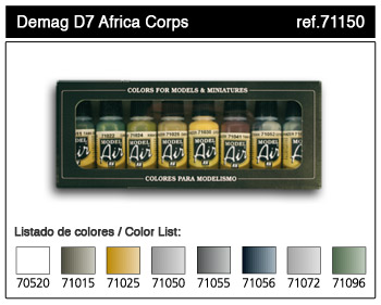 Bottle Demag D7 Africa Corps Model Air Paint Set (8 Colors)