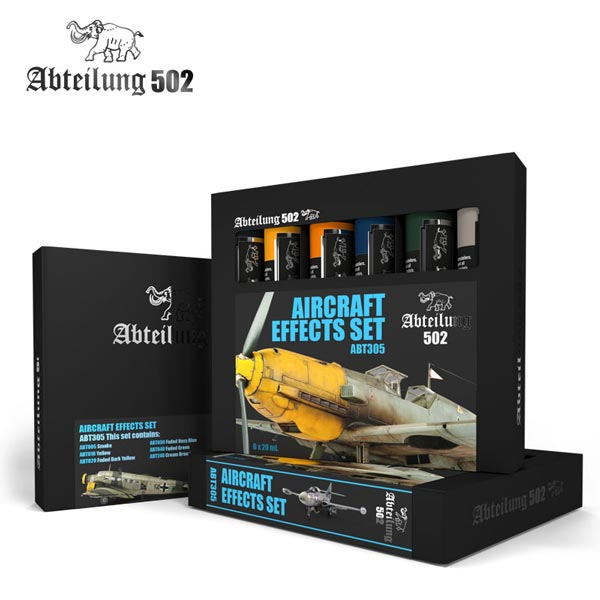 502 Abteilung Modeling Oil Paint Set - Aircraft Effects Weathering Set (6 Colors)