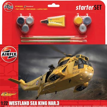 Westland Sea King HAR3 Helicopter Large Starter Set w/paint & glue