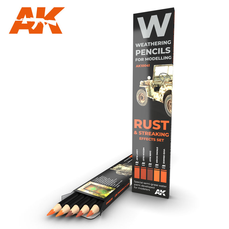 Weathering Pencils: Rust & Streaking Effects Set (5 Colors)