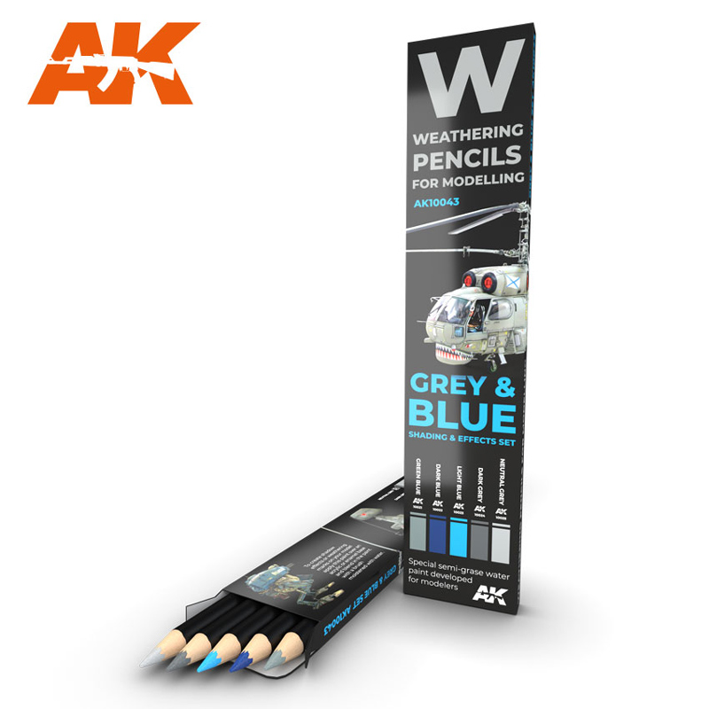 Weathering Pencils: Grey & Blue Shading & Effects Set (5 Colors)