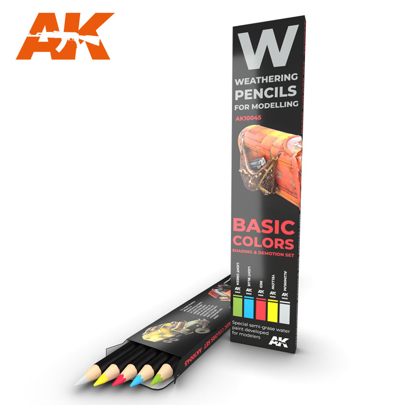Weathering Pencils: Basic Colors Shading & Demotion Set (5 Colors)