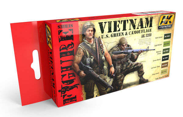 Figure Series: Vietnam US Green & Camouflage s Acrylic Paint Set