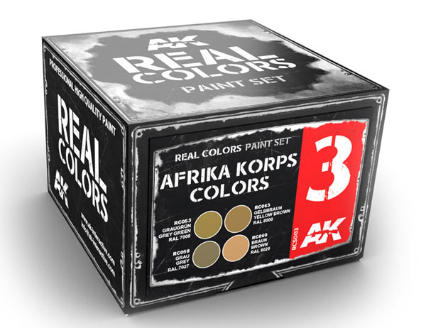 Real Colors: Afrika Korps Acrylic Lacquer Paint Set (4) 10ml Bottles