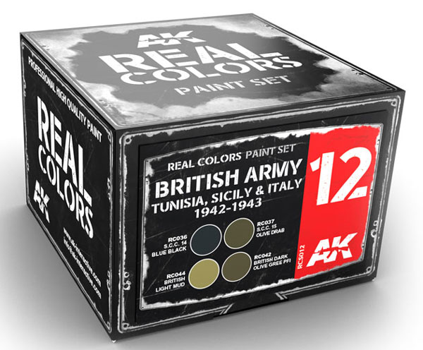 Real Colors: British Army Tunisia, Sicily & Italy 1942-1943 Acrylic Lacquer Paint Set (4) 10ml Bottles