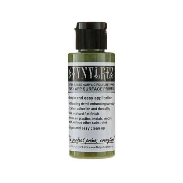 Stynylrez Water-Based Acrylic Primer Olive Green 2oz. Bottle