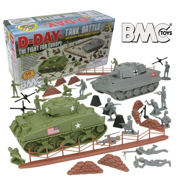 WW2 D-Day Tank Battle - 36pc Plastic Army Men Playset