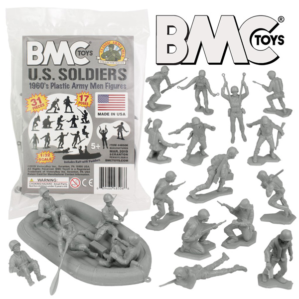 BMC Marx Plastic Army Men US Soldiers Gray 31pc