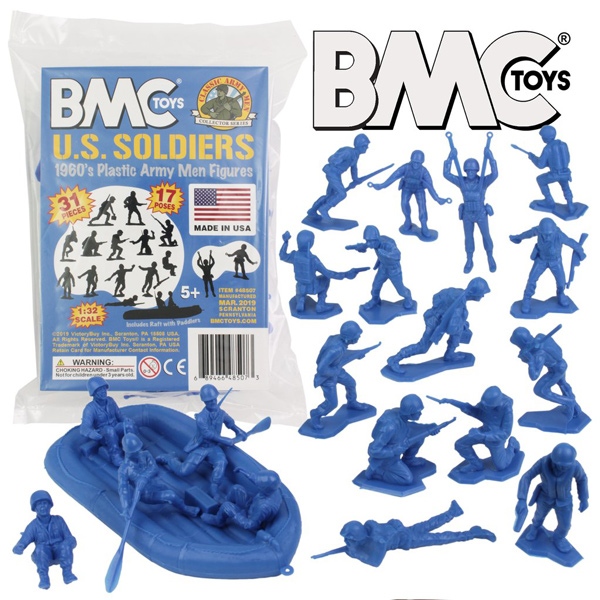 BMC Marx Plastic Army Men US Soldiers - Blue 31pc