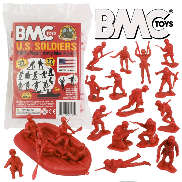 BMC Marx Plastic Army Men US Soldiers - Red 31pc