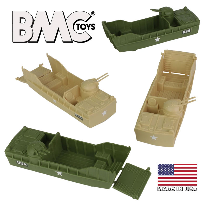 Classic Marx Landing Craft - 4pc Tan vs. OD Green Plastic Army Men Vehicles
