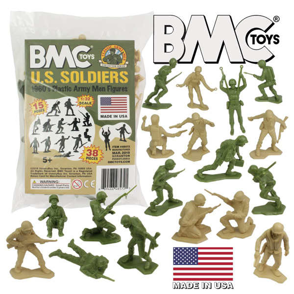 BMC Marx Plastic Army Men US Soldiers - Green vs Tan 38pc