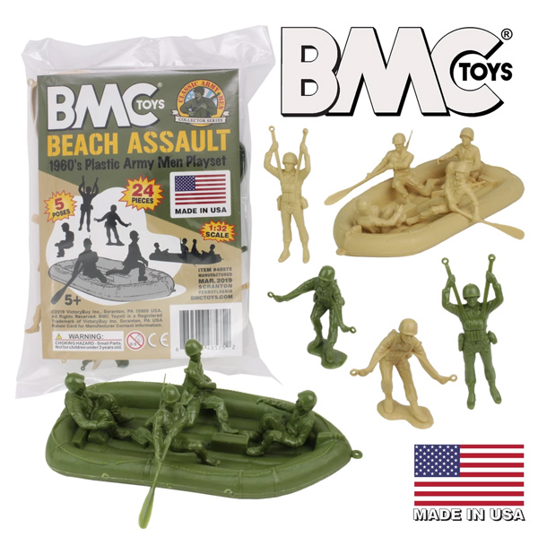BMC Marx Plastic Army Men BEACH ASSAULT - Green vs Tan 24pc