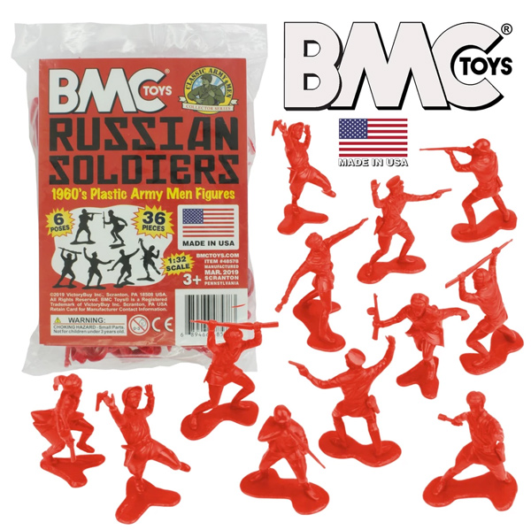 BMC Classic Marx Russian Plastic Army Men - Red 36pc