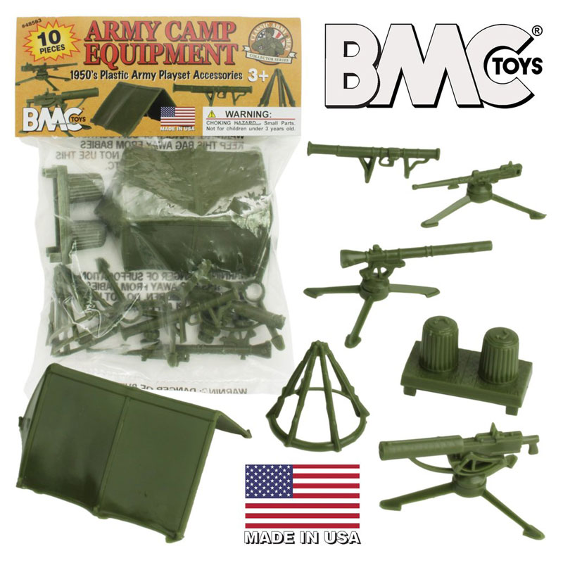 Classic Plastic Army Men Camp Equipment - 10Pc Tents And Guns