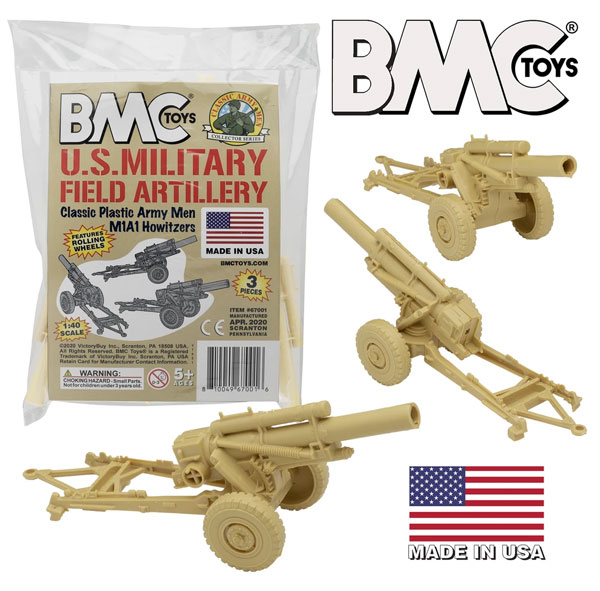Classic Marx WWII US Military Howitzers - Tan 3pc Plastic Army Men Field Artillery