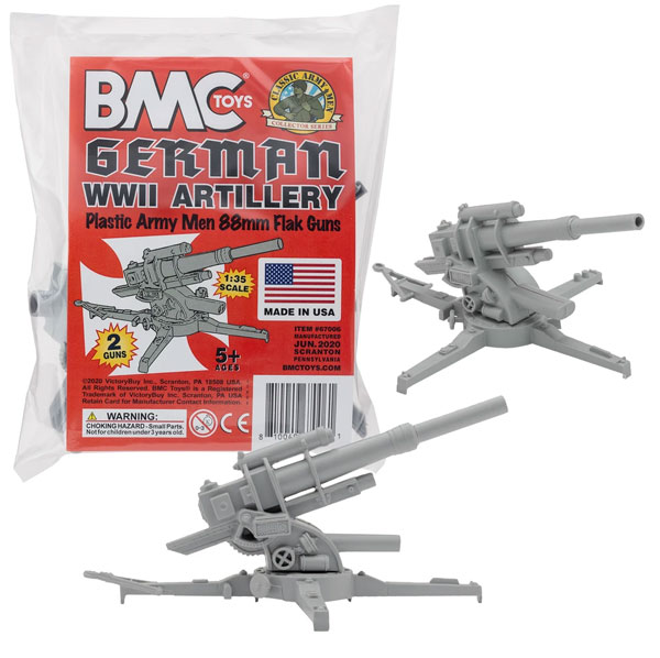 Classic Marx WWII German 88mm Artillery - 2pc Gray
