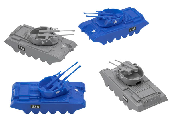 Classic Payton Anti-Aircraft Tanks - 4pc Blue vs. Gray