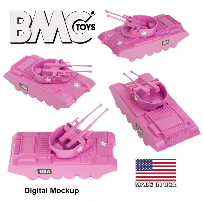 Classic Payton Anti-Aircraft Tanks - 4pc Pink Plastic Army Men Vehicles