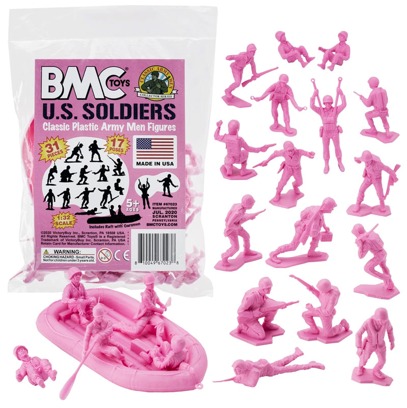 Plastic Army Men US Soldiers - Pink 31pc WW2 Figures