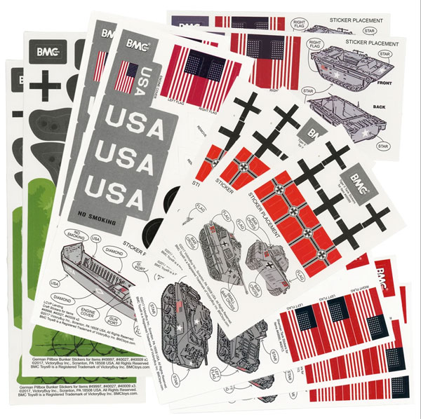 WWII Sticker Sheets for 1:32 Tanks, Landing Craft & Bunkers