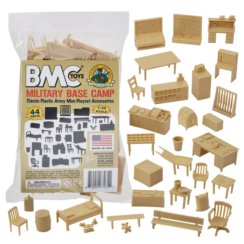Classic Marx Military Base Camp - Tan 44pc Plastic Army Men Playset Accessories