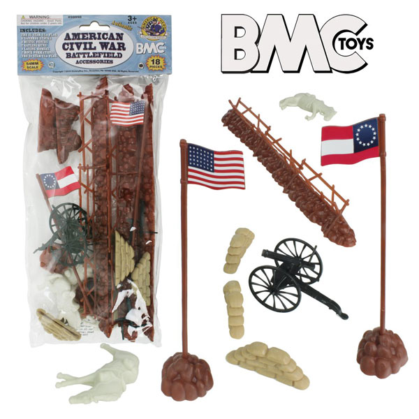 Civil War Battlefield Accessories- 18pc Fences, Flags