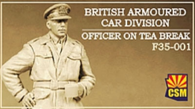 British Armoured Car Division Officer on Tea Break