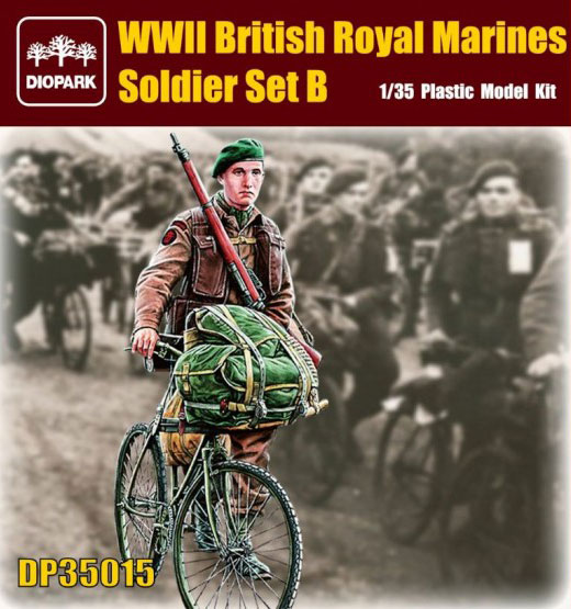 WWII British Royal Marine Soldier Riding Bicycle w/Gear & Rifle