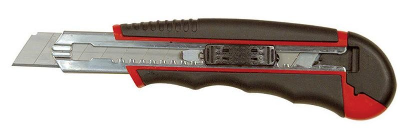 Retractable Snap Off #7 Blade Utility Knife w/Metal-Frame Rubber Handle