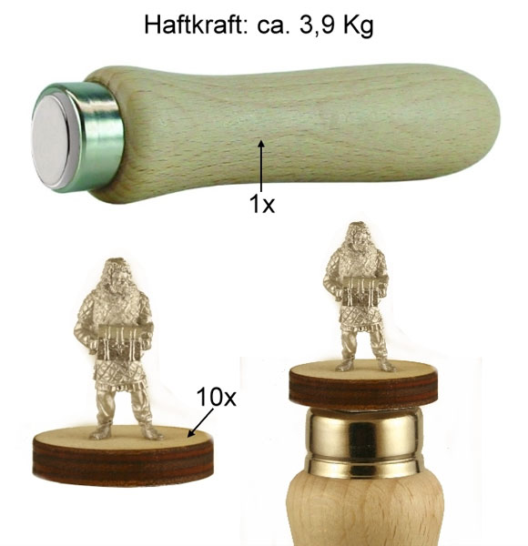 Magnetic Figure Holder With Wooden Handle