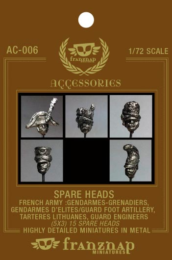 Spare Heads French Army: Gendarmes, Grenadiers, Elite Gendarmes/Guard foot artillery, Tartares Lithuanes, Guard Engineers