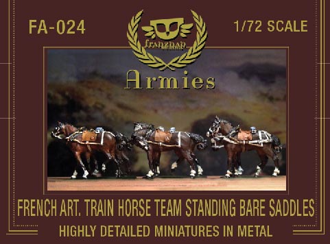 French Artillery Train Horse Team Standing Bare Saddles