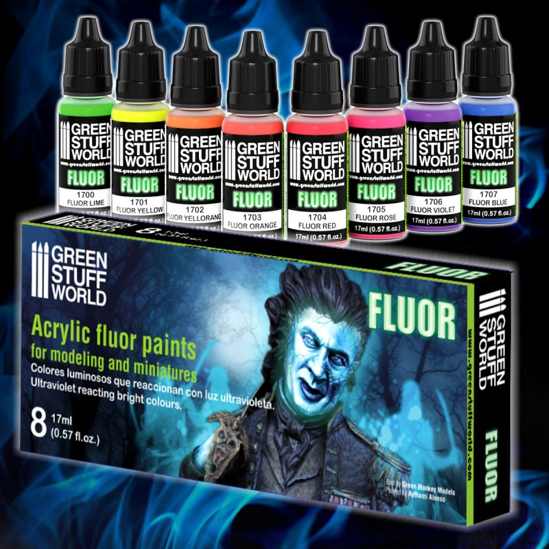Fluor Paints 8 Color Paint Set