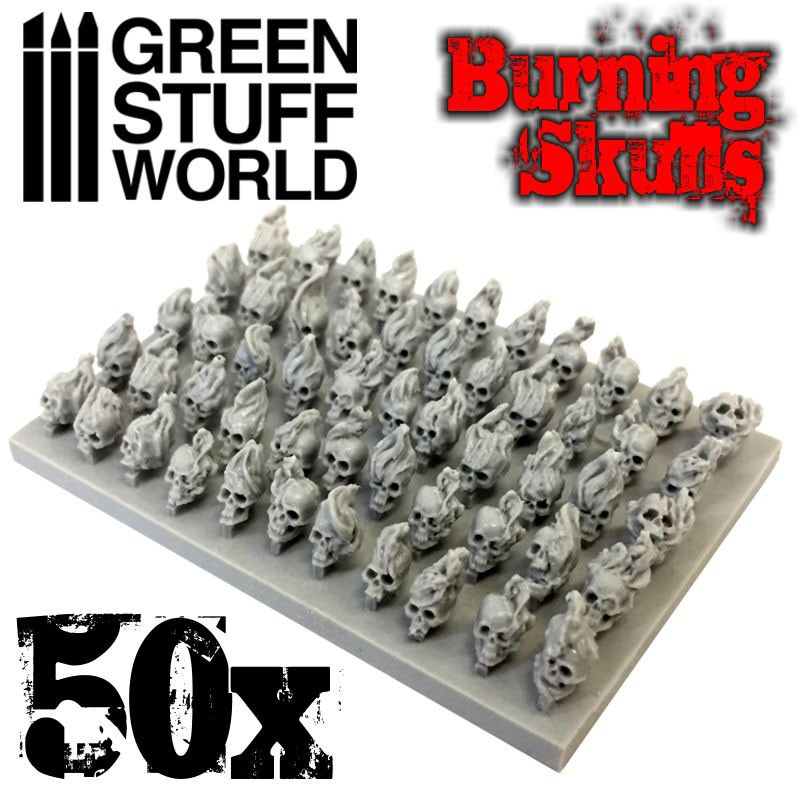 Resin Burning Skulls x 50