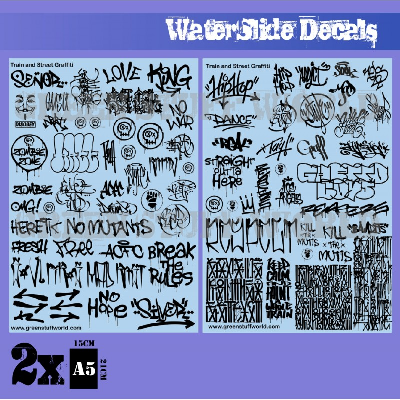 Waterslide Decals - Train and Graffiti Black