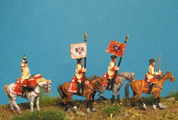 7 Years War: Austrian Cuirassiers Set 1- Command Group I on Standing Horses