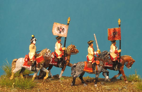 7 Years War: Austrian Cuirassiers Set 4- Command Group I  On the March (Trotting)
